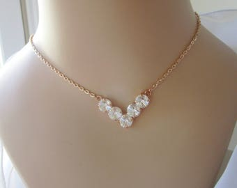Bridal Necklace, Swarovski Crystal Necklace, Bridesmaid Jewelry, Blush Necklace, Rose Gold Necklace,V necklace, Wedding Jewellery, Cup Chain