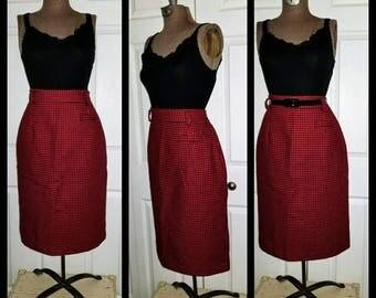 Hot 4 teacher ... Vintage 80s pencil skirt / wiggle high waist / 50s 60s rockabilly mad men secretary / red black houndstooth / S M