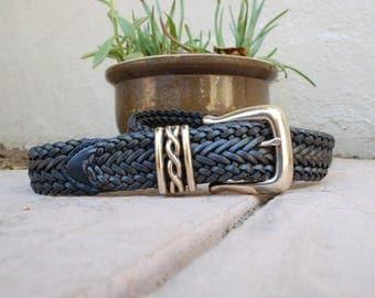 Womens Medium Brighton Leather Belt 1995 Black Leather Woven Braided Belt Concho Belt Boho Belt Biker Moto Belt