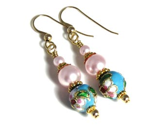 Blue & Pink Cloisonne Earrings With Pink Swarovski Pearls, Pink Earrings, Blue Earrings, Pink Pearl Earrings