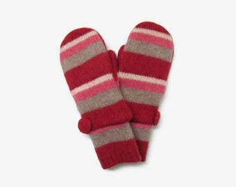 Felted Wool Sweater Mittens // Fleece Lined Wool Mittens // Red Pink Cream and Taupe Striped Wool Mittens