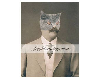 Weird Cat Art, Animal in Clothes 5x7 Inch Collage Print, Animal Hybrid, Cat in Suit, Gift For Men, Man Cave Decor