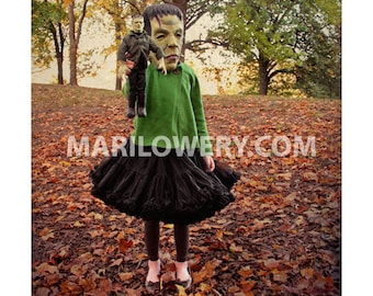 Halloween Decor, Girl with Frankenstein Mask and Doll Photography, Creepy Cute Halloween Wall Art Print, 7x7 on 8.5 x 11 Inch Paper