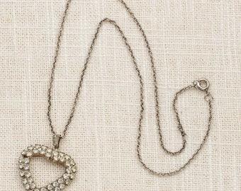 Rhinestone Heart Necklace Vintage Silver Chain Costume Jewelry 7L