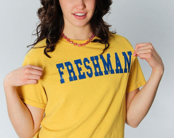 Small Vintage Yellow 14 Freshman T Shirt | 5AA
