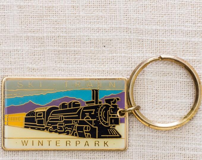 Ski Train Winterpark Vintage Keychain Colorado Winter Park Key FOB Brass Key Chain 7KC