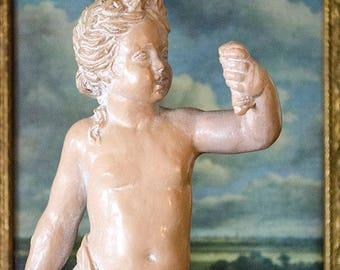 Vintage Cherub Statue, Hallmarked Alexander Backer, Terracotta Finish