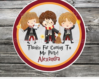 Harry Potter Favor Tags, Harry Potter Stickers, Set of 12 Personalized Favor Tags, Stickers, Thank You Tag, HP, Harry Potter Party Favors