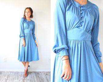 Vintage boho long sleeve midi dress // 50's 60's shiny blue summer fall dress // boho modest a-line dress // long sleeve boho small dress