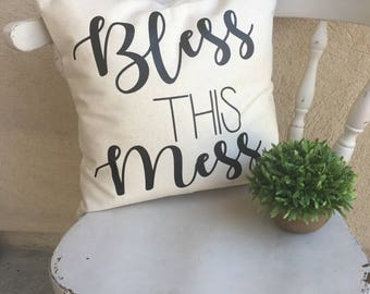 Bless this Mess Throw Pillow - Farmhouse - Cushion Cover - Pillow Cover