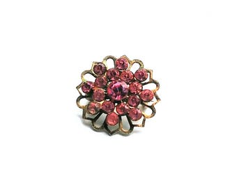 Pink Rhinestone Brooch Lapel Scatter Pin Silver Tone Setting Vintage Jewelry Jewellery Wedding Bridal Sash Gift Her
