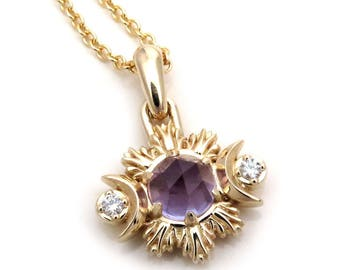 Amethyst and Diamond Triple Moon Goddess Pendant - 14k Yellow Gold - Ready to Ship