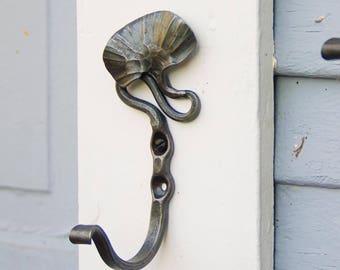 Wall Hook, Botanical, Large Coat Hooks, Gingko,  Wrought Iron hook, Metal Wall Hook, Unique, Decorative Hook, Beautiful wall hook, entryway