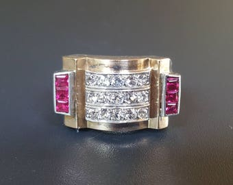 French Retro Ruby & Diamond Ring Gilt Sterling Silver Size 7 Signed 1940s