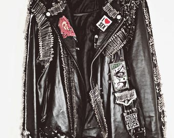 Hand Crafted Black Faux Leather Jacket