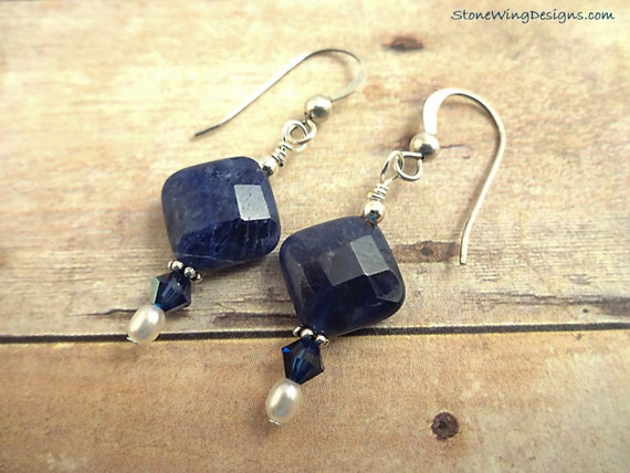 Blue Gemstone Earrings, Sodalite Earrings, Blue Gemstone Jewelry, Gemstone and Pearl Earrings, Sodalite and Pearl Earrings, Sterling Silver