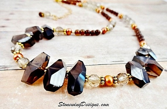 Smokey Quartz Nuggets, Jade and Pearl Statement Necklace