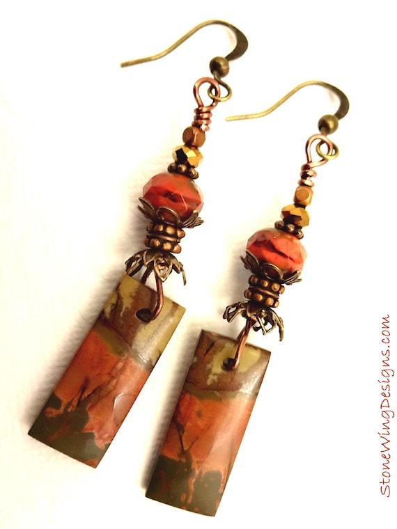 Rustic Boho Red Creek Jasper Earrings in Orange, Tan and Brown