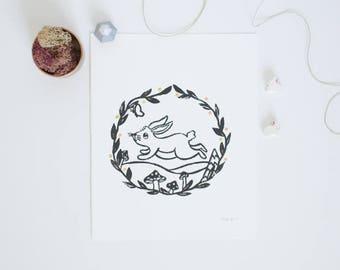 Original Animal Print - Bunny - Block Print - 8 x 10