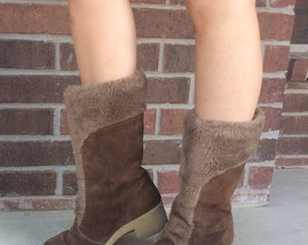 vintage 70s Faux Fur SNUGGLY brown suede WINTER BOOTS 9 tall leather hippie boho heels shoes shearling
