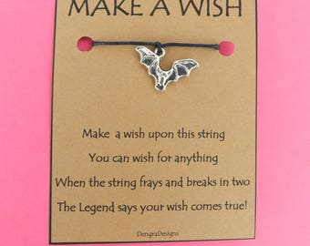 Vampire Bat Halloween Wish String Friendship Bracelet Cord Band Charm Karma Wishes Magical Amulet Designed and Made by Kate Dengra Spain