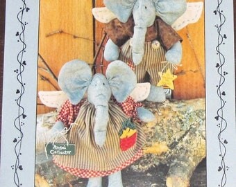 """Vintage Bunny Hugs Craft Sewing Pattern 122 Basil and Sage Elephant Angel Dolls 9"""" Soft Stuffed Ornaments Whimsical Country Decor, Uncut"""