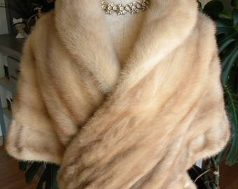 Stunning Palomino cross mink fur stole / blonde fur / cape / wedding / fur wrap / fur coat