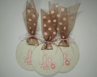 Easter Bunny Tags, Bunny Tags, Easter Bunny, Easter Tags, Bunny Tags, Handmade Tags, Gift Tags, Easter Favor Tags, Set of 8, Pink