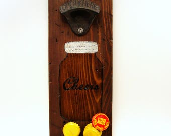 wall mount bottle opener cast iron distressed cedar magnet cap catcher cheers mason jar
