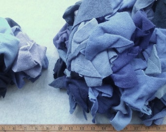 Cashmere Recycled Remnants - Indigo Blues Light to Dark for DIY Crafts and Projects - Choose Bundle Size