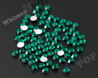 SS16 - 1 Gross/144 pieces Emerald Green Glass Rhinestones, SS16 No Hot Fix Flatbacks, 4mm Rhinestones, Glass Rhinestones (R4-111)