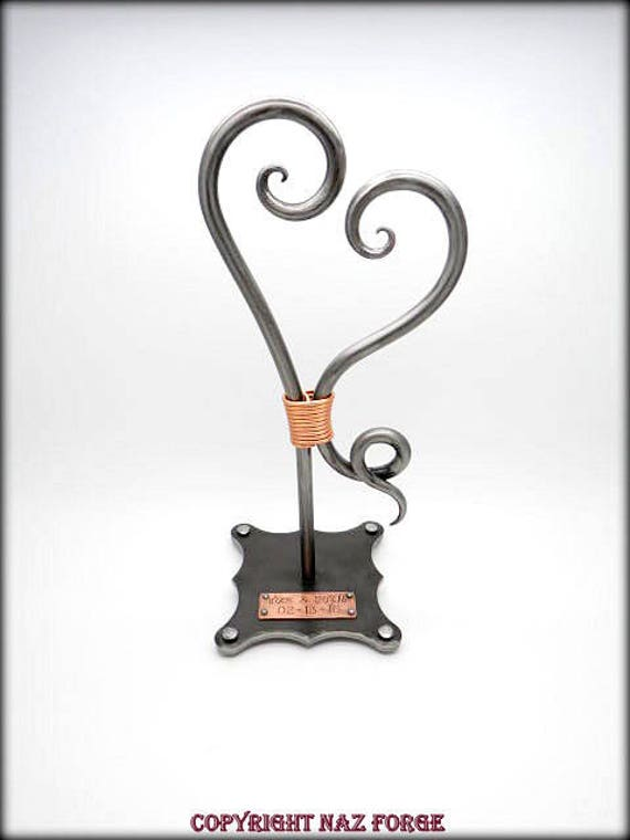 WEDDING ANNIVERSARY GIFT - 6th Iron Theme - Forged Heart Sculpture - Forever - Hand Forged by Naz - Gifts Couple Love - Personalized Option