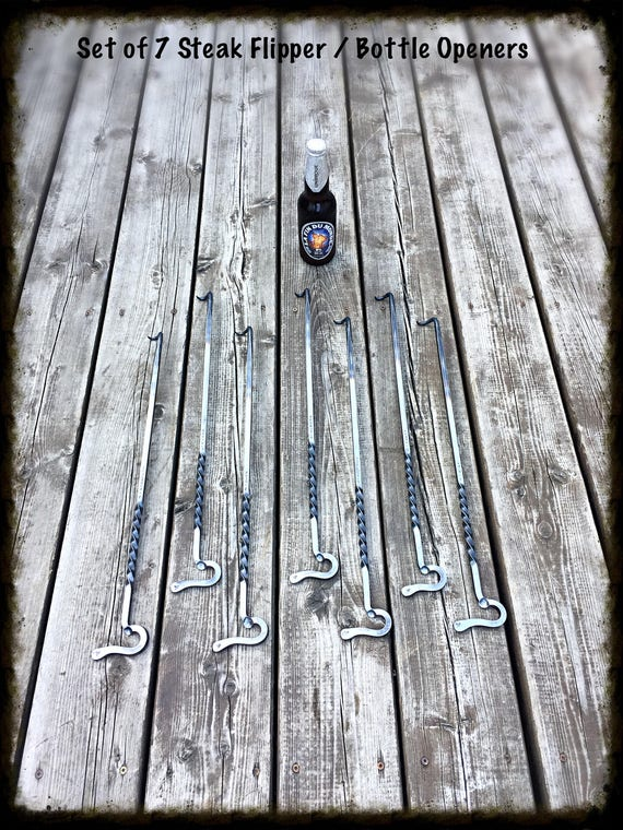 GROOMSMEN GIFT Set of 7 Steak Flipper / Bottle Openers - Personalized Option Available  Hand Forged by Naz - Unique Groomsmen Gifts for Men