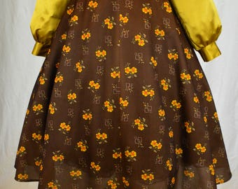 70s Boho Art deco style print brown and yellow floral full swing skirt size M/L
