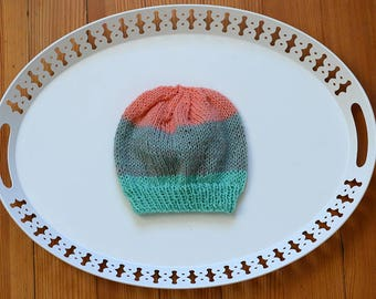 Hand Knit Child Hat - Teal, Blue, Pink, Coral - Christmas Gift Idea - Gifts for Her - Gifts for Him - Child Size - Knitwear