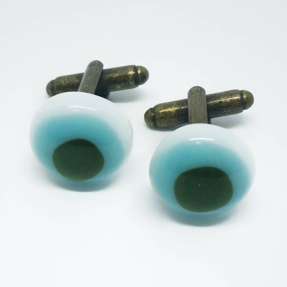 Army Green and Baby Blue Glass Cufflinks
