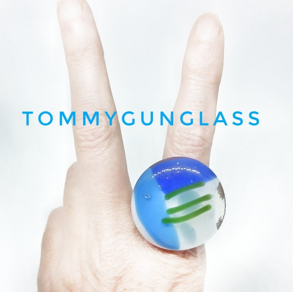 Glass Ring - Blue and Green - Silver Band