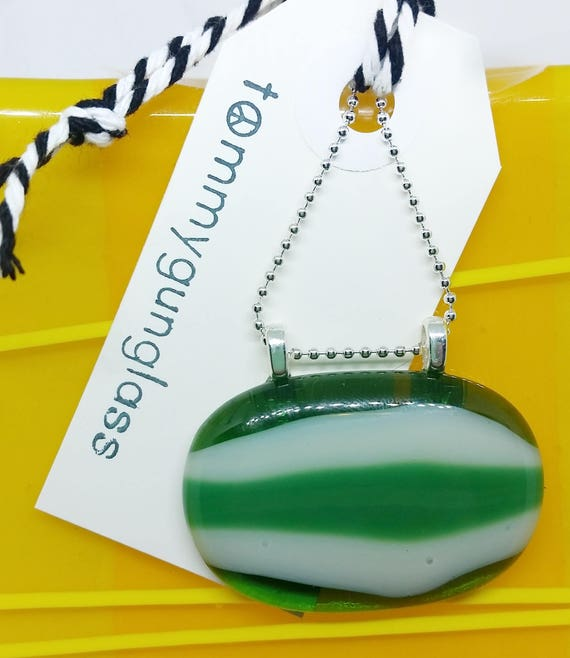 Green Striped Fused Glass Pendant with Chain