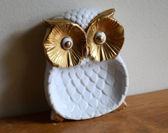 Vintage Enesco White Porcelain / 18 K Gold Owl Trinket Dish