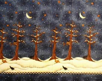 Night Sky with Trees, Snow and Birds, Fabric Panel