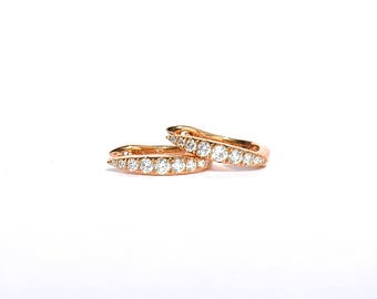 SALE 18K Rose Gold Diamond Spiked Hoop/Earrings