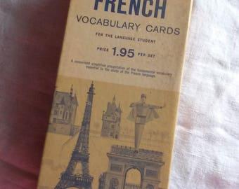 Vintage French Vocabulary Cards French Flash Cards Vintage Ephemera Set of 1000 Cards, Learning Foreign Language Vis-Ed Inc.