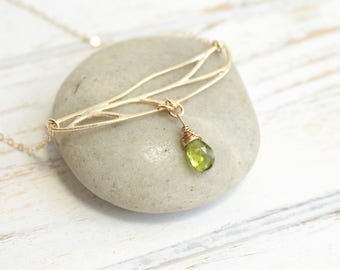 Gold Dragonfly Wing Necklace With Your Choice Of Birthstone