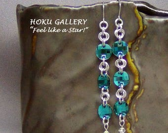 """Chainmaille / Swarovski Crystal Blue Zircon Earrings - Surgical Steel Earwires - 3.5"""" - Hand Crafted Artisan Jewelry"""