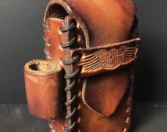 HARLEY DAVIDSON Leather CIGARETTE Lighter Belt Case Vtg 70s Whiskey Brown Tooled Whipstitch Distressed Biker Moto Motorcycle Bag Holder Box