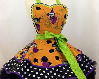 Witches Brew Pin Up Apron- Ready To Ship, Halloween Party