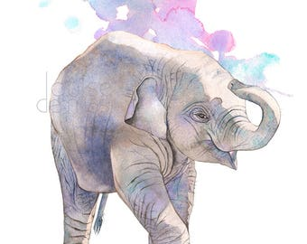 Baby Elephant print of watercolour painting, A3 size, E22117, Baby Elephant watercolor painting print, Art for nursery, baby animal print