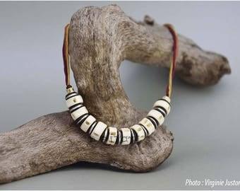 Collier ethnique en perles naturelles, vertèbres de poisson africaines