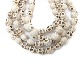 Bone White Howlite - Skulls - 13mm x 12mm - 30  beads - Full Strand - White Turquoise - Imitation Turquoise - Skull - Ivory