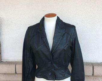 Vintage Wilsons Black Leather Jacket Cropped Leather Jacket Size Small